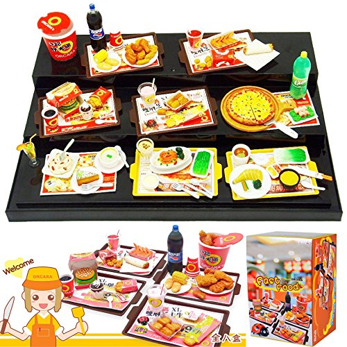 Orcara Miniature Dollhouse Fast Food American Restauant Doll Accessorie Set Of 8