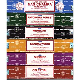 Set of 6 x 15g Boxes Incense Nag Champa Sunrise Sandalwood Midnight Patchouli Celestial