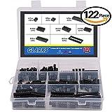 Glarks 122Pcs 2.54mm Pitch DIP IC Sockets Solder Type Adaptor Assortment Kit (6 / 8 / 14 / 16 / 18 / 24 / 28 / 40 Pins)