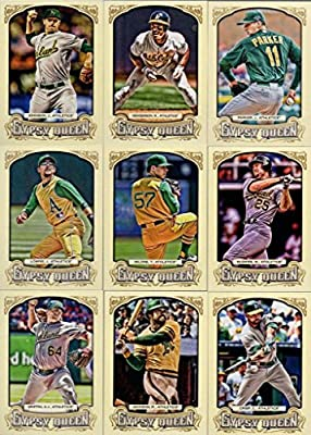 2014 Oakland Athletics Topps Gypsy Queen MLB Baseball Complete Mint 13 Basic Card Team Set with Yoenis Cespedes, Reggie Jackson, Mark Mcgwire, Rickey Henderson Plus