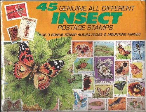 45 Genuine Postage Stamps Assortment - Insects - 1