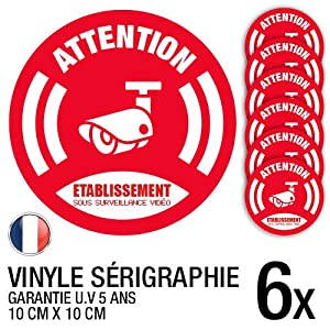 Lot de 6 autocollants / stickers Vidéosurveillance