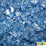 bbq factory Fireglass 10-pound Reflective Fire Glass with Fireplace Glass and Fire Pit Glass, 1/4-inch(T: 6.0mm), Blue