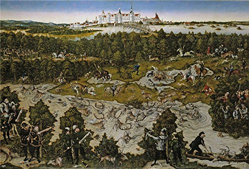 Polyster Canvas ,the High Definition Art Decorative Canvas Prints Of Oil Painting 'Cranach Lucas Caceria En Honor De Fernando I En El Castillo De Torgau 1545 ', 10 X 15 Inch / 25 X 37 Cm Is Best For Bar Decoration And Home Gallery Art And Gifts