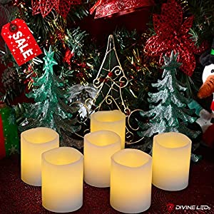 Flameless Candles - Flickering LED Candles - 100+ hrs of Extended Light Time - Set of 6 Unscented Battery Powered Romantic LED Candles - Votive Candles - Fake Candles - Suitable for Weddings, Christmas, Funerals, Souvenirs - Makes a Great Gift - Stunning