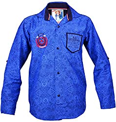 Kidzee 100% Cotton Boy's Printed Casual Blue Color Shirt