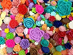 PEPPERLONELY Brand, 30pc Rose/Daisy/Lily/Bud/ Peony Mixed Color/Size Flower Flat Back Resin Caboc...
