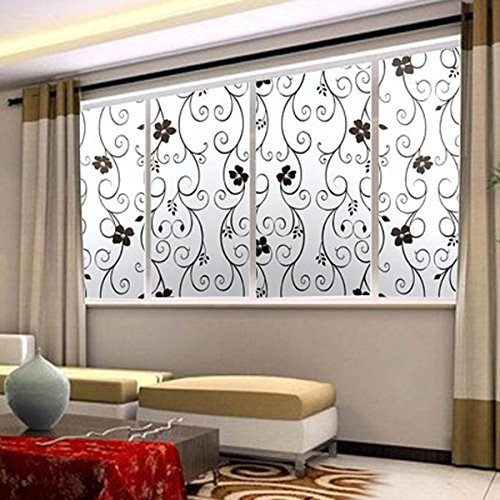 Decorative Floral Glass Shower Door 45x100cm Frosted Privacy Cover Glass Window Door Black Floral Flower