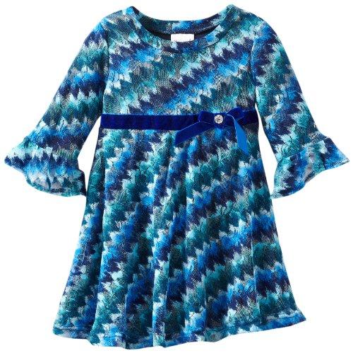 Nannette Little Girls' 1 Piece Slinky Wavy Dress, Navy, 3T