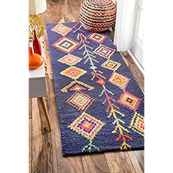 "nuLOOM Bohemian Moroccan Diamond Runner Area Rugs, 2 6"" x 8, Navy"