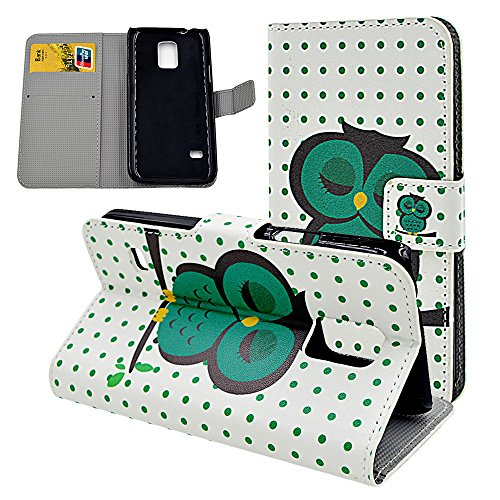 Cartoon Sleeping Owl Green Dots Flip Leather Case For Samsung Galaxy S5 Mini (Not S5) Card Holder Design Magnetic Clasp Stand Cover Protective Skin