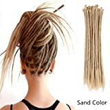AOSOME 20 Inch Sand Color Dreadlock Extensions Crochet Locs Braids 20pcs All Handmade Synthetic Hair Extension (Color: Sand-20'')