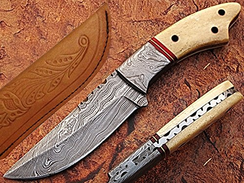 Red Circle Hunting Knife Damascus Steel Blade Bone Handle