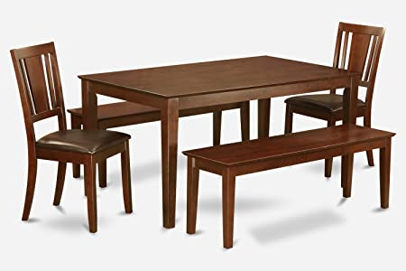 East West Furniture CADU5C-MAH-LC 5-Piece Dining Table Set