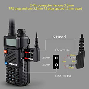 Sinhin Walkie Talkie Earpiece Headset mic 2 pin with PTT for Baofeng Kenwood Puxing Two Way Radios(Black - K Head)