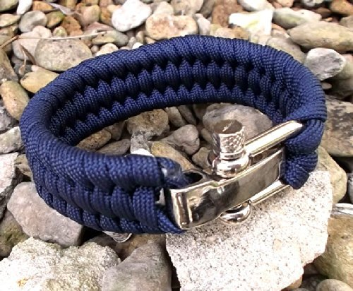 Uk Delivery 1-3 Work Days.Heavy Duty Navy Extra Wide Band Paracord 550 Survival Bracelet (7'-8' Adjustment) With Solid Die Cast Adjustable Shackle.Genuine 140K Breaking Strain,7 Core Braid, Not A Mythical Dangerously High 500Lbs + Number Claimed By So Man