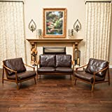 Coolidge Mid Century Design 3pc Loveseat and Chair Set in Brown Leather