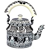 "Kaushalam's Hand Painted Teakettle - ""Black & White""Weight: 400grams"