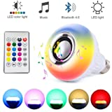 Ayygift 1Piece LED Flame Music Lamp Amazing Bluetooth Music Bulb Creative Music Light Lamp Bulb (Color: White)