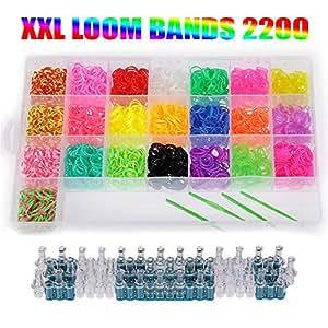 LOOM Starterset Kit 2200 Bänder Starter Set Box 22 Farben Gummibänder Bandz + Webrahmen + Clips + Haken