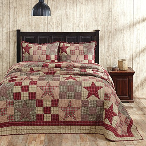 Primitive Country Star Patch Red King 3 Piece Quilt Set
