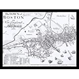 FRAMED Captain John Bonner's Map of Boston 1722 16x12 Art Print Poster Antique Reproduction Massachusetts Colonial Vintage