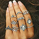 Rurah 13 Pcs Retro Carved Lotus Openwork Knuckle Rings Set Bohemian Beach Jewelry for Women and Girl