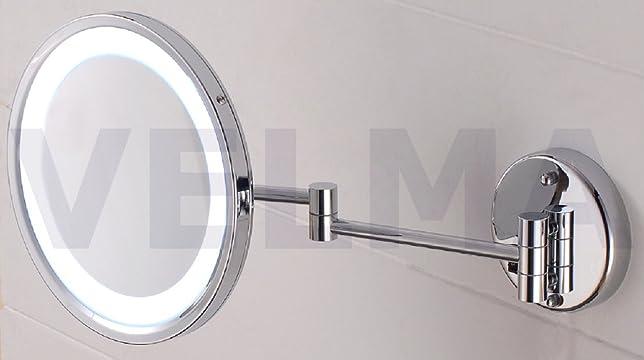 VELMA - AKKU AROUND- LED110RC 5x - Specchio cosmetico / Specchio ingranditore / Specchio da trucco illuminato con batteria ricaricabile + nuovissima tecnologia LED - Ingrandimento x5 - Completamente orientabile - Richiudibile completamente contro la paret