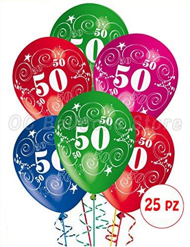 Palloncini Compleanno 50 anni addobbi e decorazioni per feste party confezione 25pz