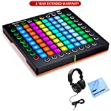 Novation Launchpad Pro Professional 64-Pad Grid Performance Instrument for Ableton (AMS-LAUNCHPAD-PRO) with 1 Year Extended Warranty, Professional Headphones & 1 Piece Micro Fiber Cloth