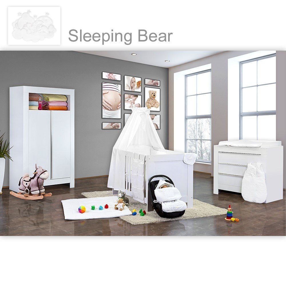 Babyzimmer Felix in weiss 21 tlg. mit 2 türigem Kl + Sleeping Bear in weiss