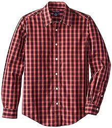 Brooks Brothers Non Iron Cotton Small Check Sportshirt, Red/Navy, Medium