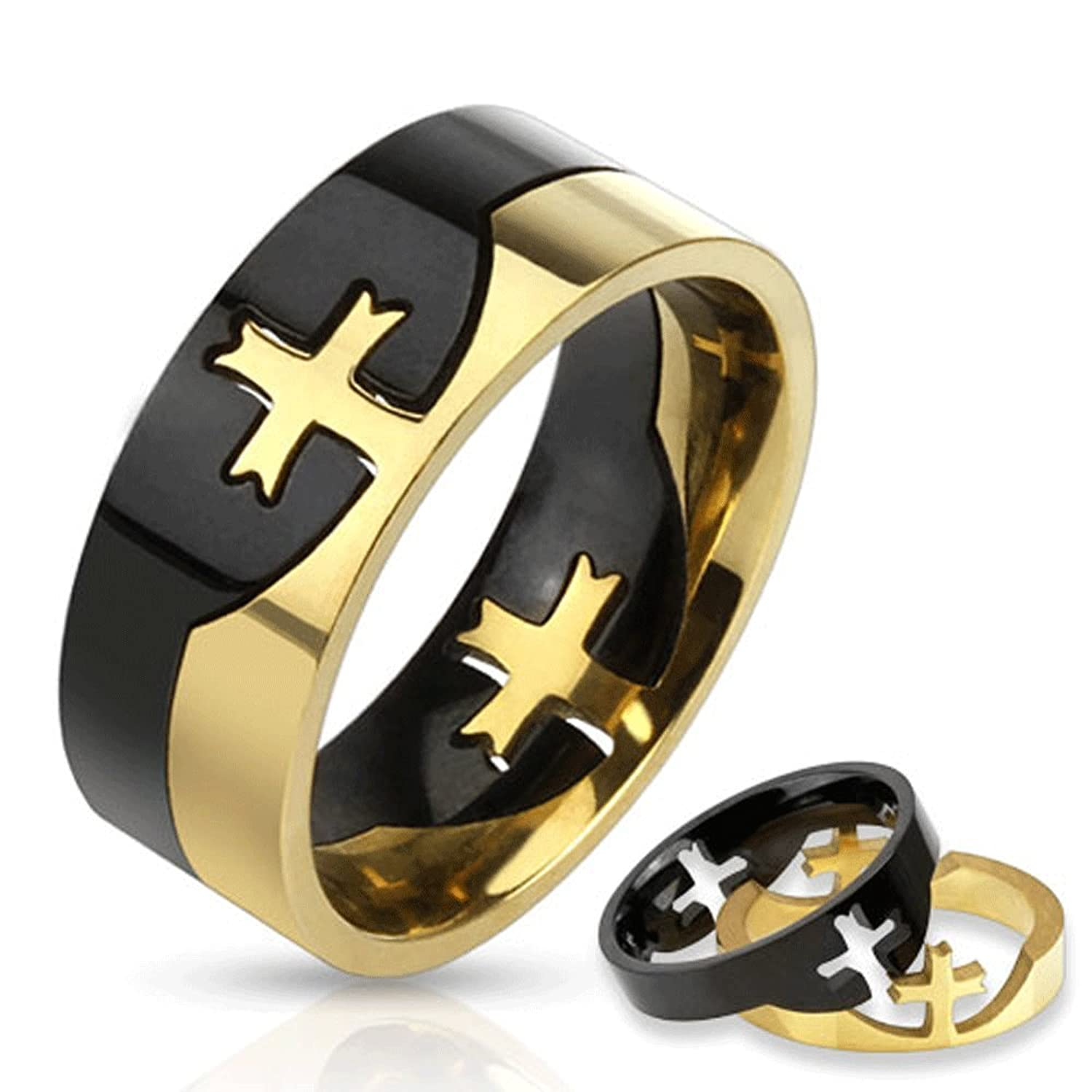 STR-0159 Stainless Steel Two Tone Cross Puzzle Ring