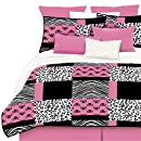Veratex 460289 Pink Skulls Bed In A Bag Micro Fiber Pinkblackwhite Queen