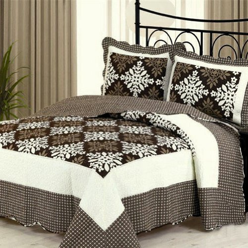 [Athena] Cotton 3PC Floral Vermicelli-Quilted Printed Quilt Set (Full/Queen Size)