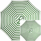 Set of 2 Green and White Striped 9' Ft Foot Outdoor Round Steel Patio Tilt Crank Polyester Umbrella - For sun protection at patio, pool, deck, porch, beach, lawn, yard