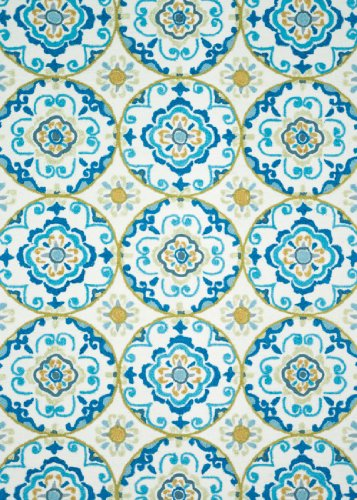 Loloi Rugs JULIJL-30IVBB300R Juliana Round Rugs, 3-Feet by 3-Feet, Ivory/Blue
