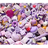 30 Pack Cute Candy Slime Beads Fruit Dessert Ice Cream Resin Charms Slices Flatback Buttons for Handcraft Accessories Scrapbooking Phone Case Decor (Lilac) (Color: Lilac, Tamaño: 10mm-25mm/0.39inch-1inch)