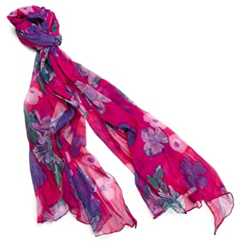 Made of Me Women's Sketch Book Floral Wrap, Wildberry, X-Large
