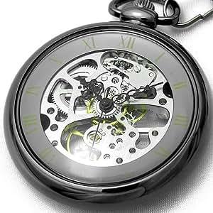 [ブラウン]BROWN 懐中時計 メカニカル ポケットウォッチ 両面スケルトン 925J-BKSV メンズ