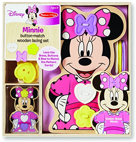 Minnie Button-Match Wooden Lacing Set