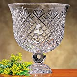 Badash Crystal Oxford Pedestal 12 by 12 Inch Bowl with blank engraving panel