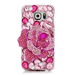 Samsung Galaxy S7 Edge Case, Sense-TE Luxurious Crystal 3D Handmade Sparkle Diamond Rhinestone Clear Cover with Retro Bowknot Anti Dust Plug - Big Rose Flower / Pink