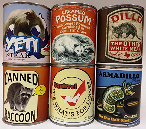 six-pack-of-gag-canned-meat-creamed-possum-armadillo-dillo-raccoon-yeti-and-squirrel