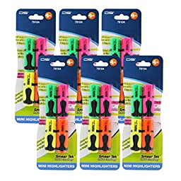 D&S Stationery Mini Highlighters, Assorted Colors, Pack of 16