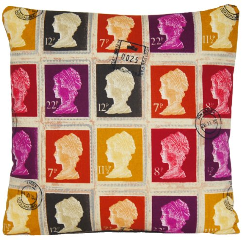 Cushion Pillow Cover Mulberry Red Colour Scatter Square First Class Stamps Vintage Style Printed Cotton Fabric