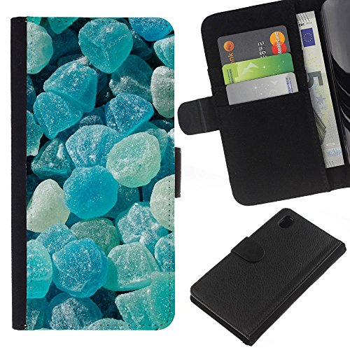 iBinBang / Flip Wallet Design Leather Case Cover - Crystal Meth Rocks Candy Blue Beach - Sony Xperia Z1 L39H
