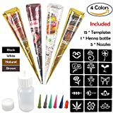COKOHAPPY Temporary Tattoo Kit, 4 Color Paste Cone Body Art Painting Drawing with 15 x adhesive Stencil, 1 x Applicator Bottle and 5 x Plastic Nozzle