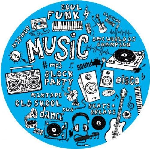 Dmc Mix Up - Feltri per giradischi, blu con stampa nero e bianco