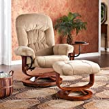 Adjustable Sand Bonded Leather Recliner and Ottoman , Office Chair